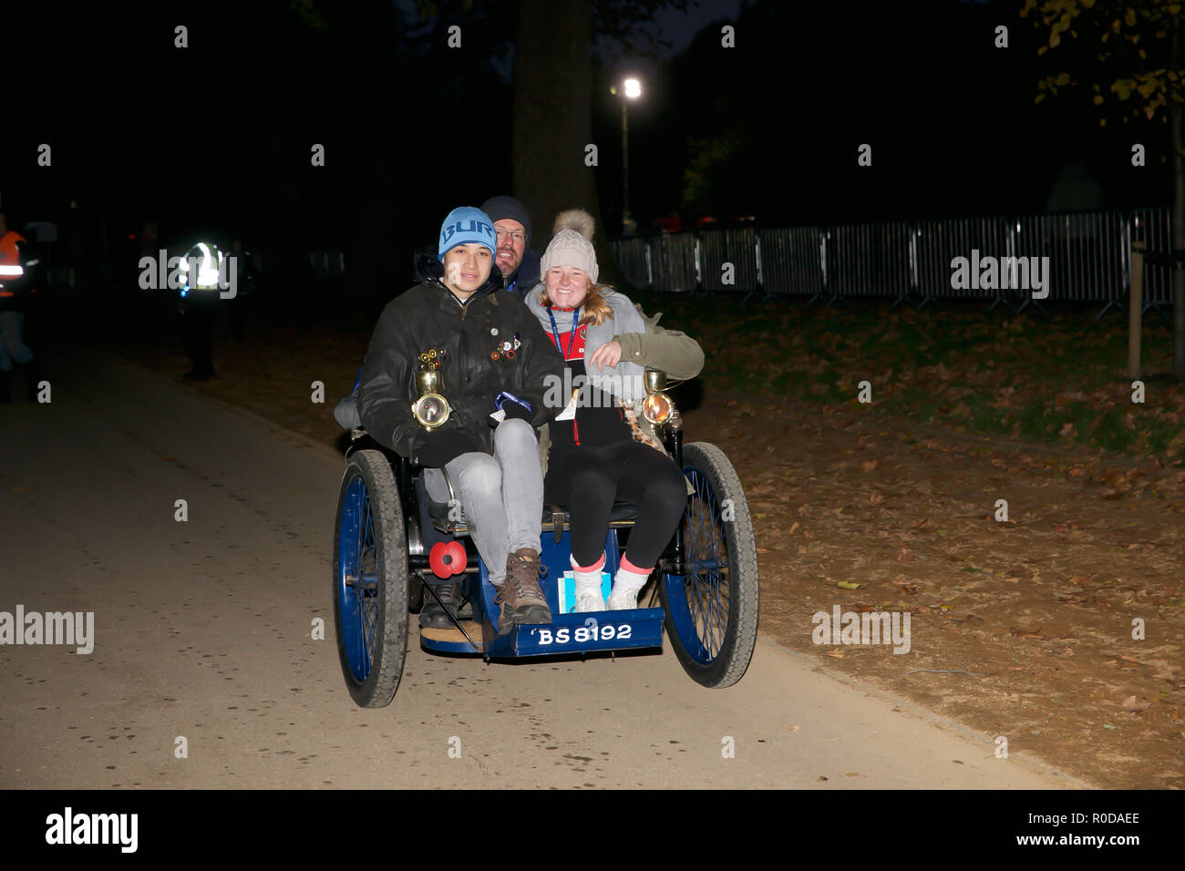 Hyde Park,London,UK,4th November 2018,London to Brighton Veteran Car Run gets underway from Hyde Park on its 122nd Anniversary its the World's longest running motoring event. Veteran cars make the run down to Brighton to hopefully cross the Finish Line in Madeira Drive with spectators lining the route. Credit: Keith Larby/Alamy Live News - Stock Image