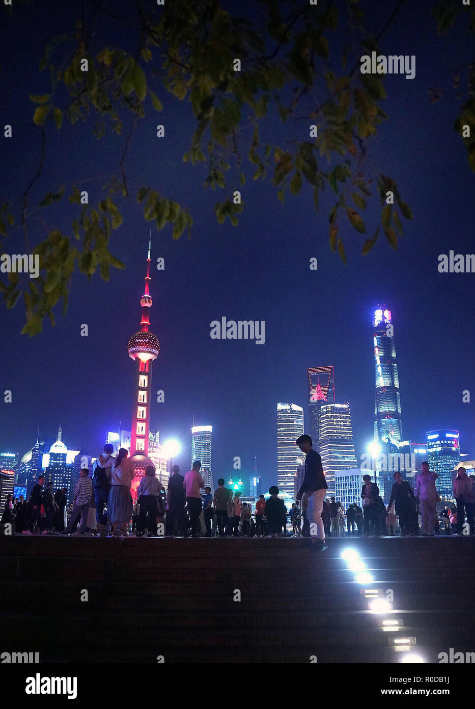 9f540a2b45a Tourists enjoy the night view of Shanghai, east China, Oct. 6, 2018. The  first China International Import Expo (CIIE) will be held on Nov. 5-10 in  Shanghai.