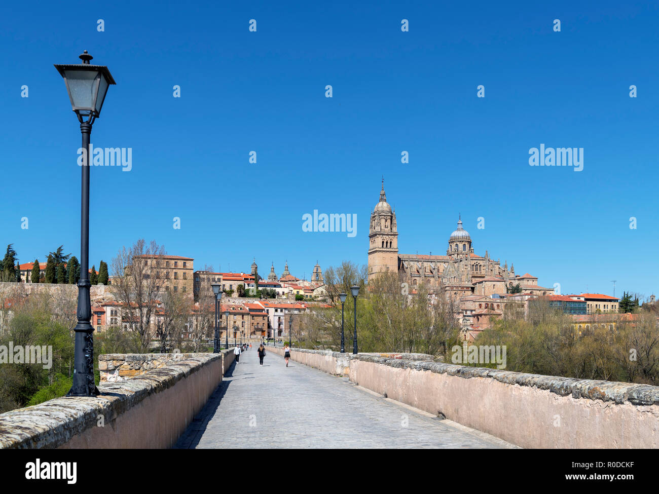 View towards the old town and cathedrals from the Puente Romano (Roman Bridge), Salamanca, Castilla y Leon, Spain - Stock Image