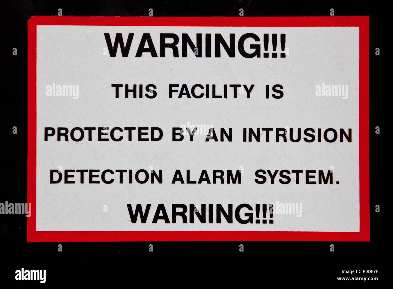 Intrusion Detection Alarm System Warning Sign - Stock Image