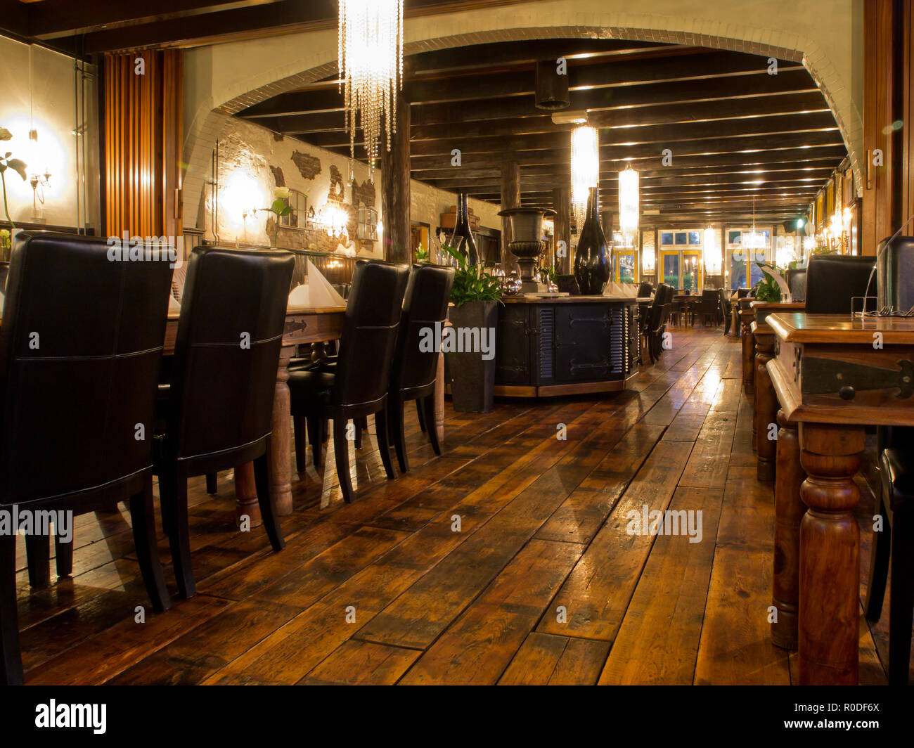 Interior Of A Vintage Restaurant At Night Stock Photo 224032114 Alamy