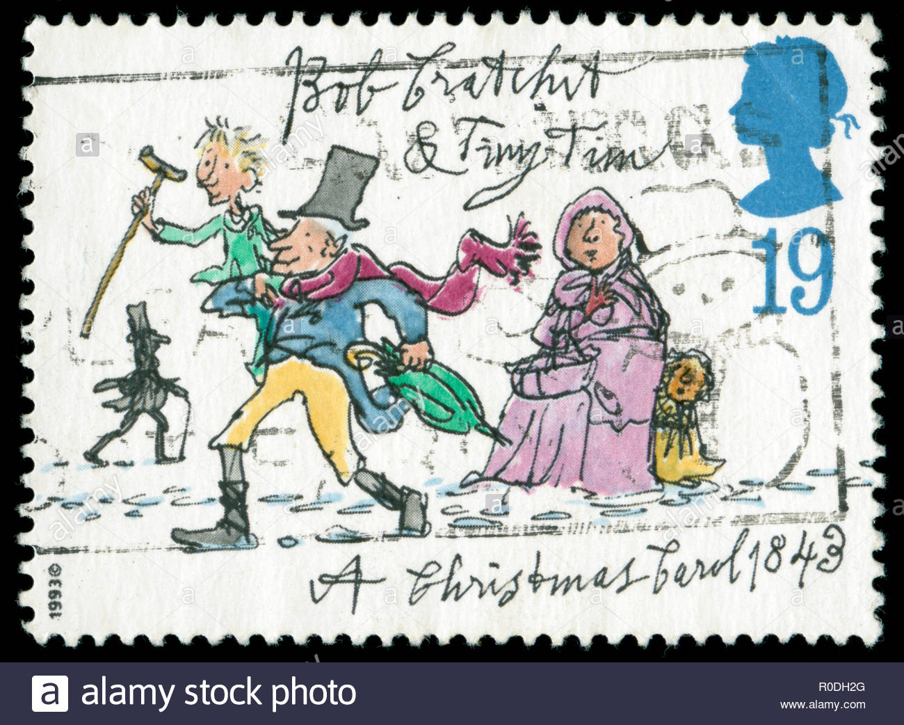 Postmarked stamp from the United Kingdom and Northern Ireland in the  Christmas 1993 - Anniv of Publication of 'A Christmas Carol' series - Stock Image