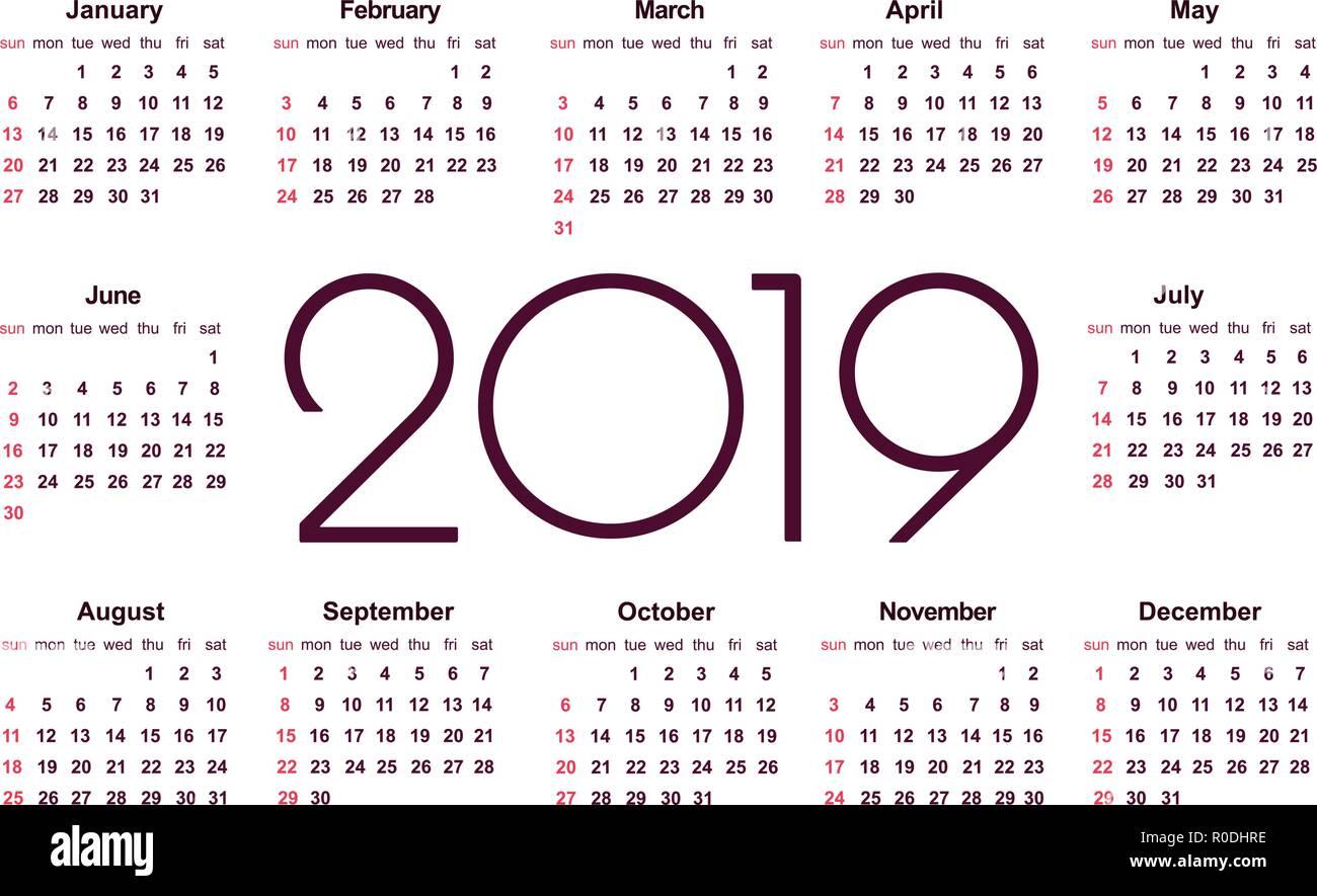 Calendario Vector Blanco.Calendar 2019 Year Simple Vector Template Stationery