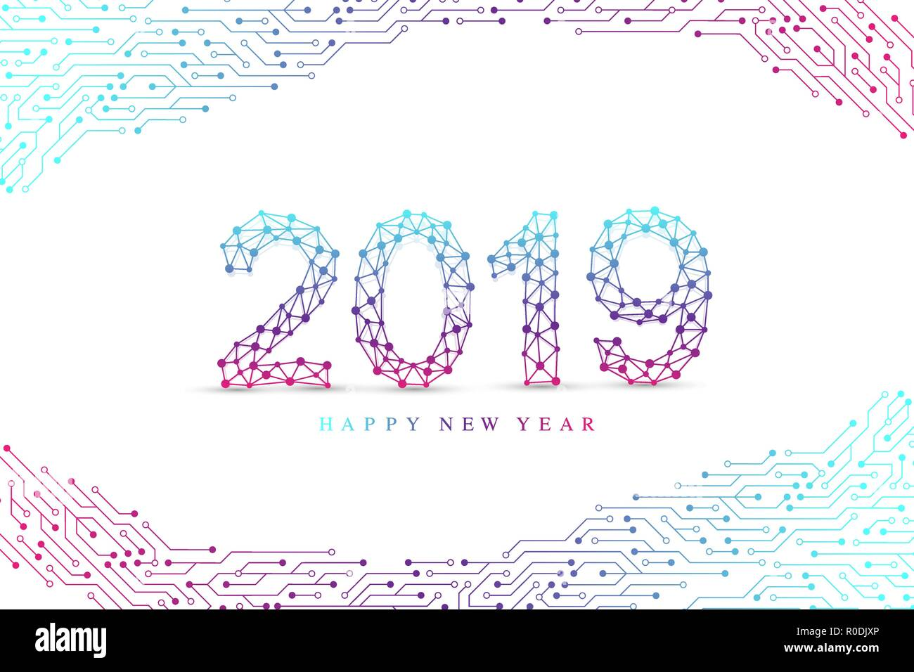 Computer Motherboard Vector Background With Circuit Board Electronic Place For Text Elements Design Christmas And Happy New Year 2019
