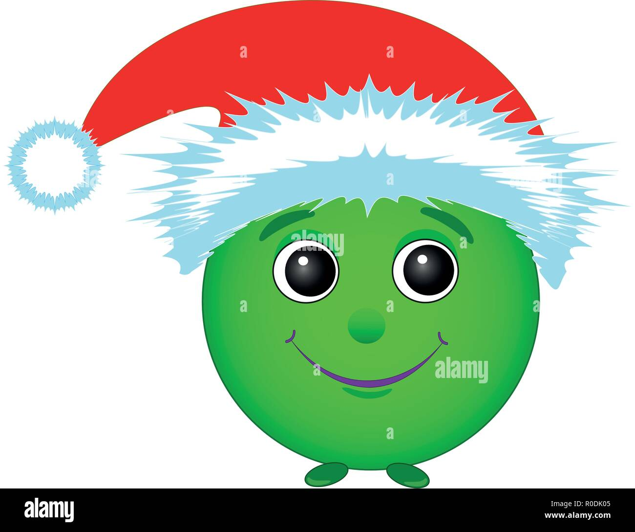 New year, The green smiley face in the cap of Santa Claus on white background, vector - Stock Image