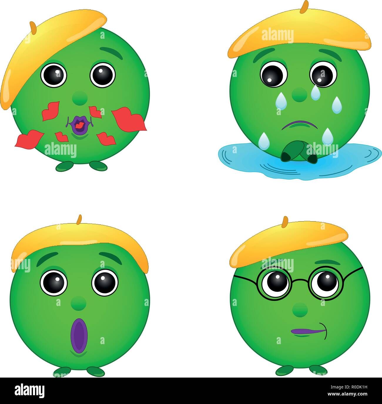 Smiley green, set. emotions , face, gingerbread man, green man, illustration, vector - Stock Image