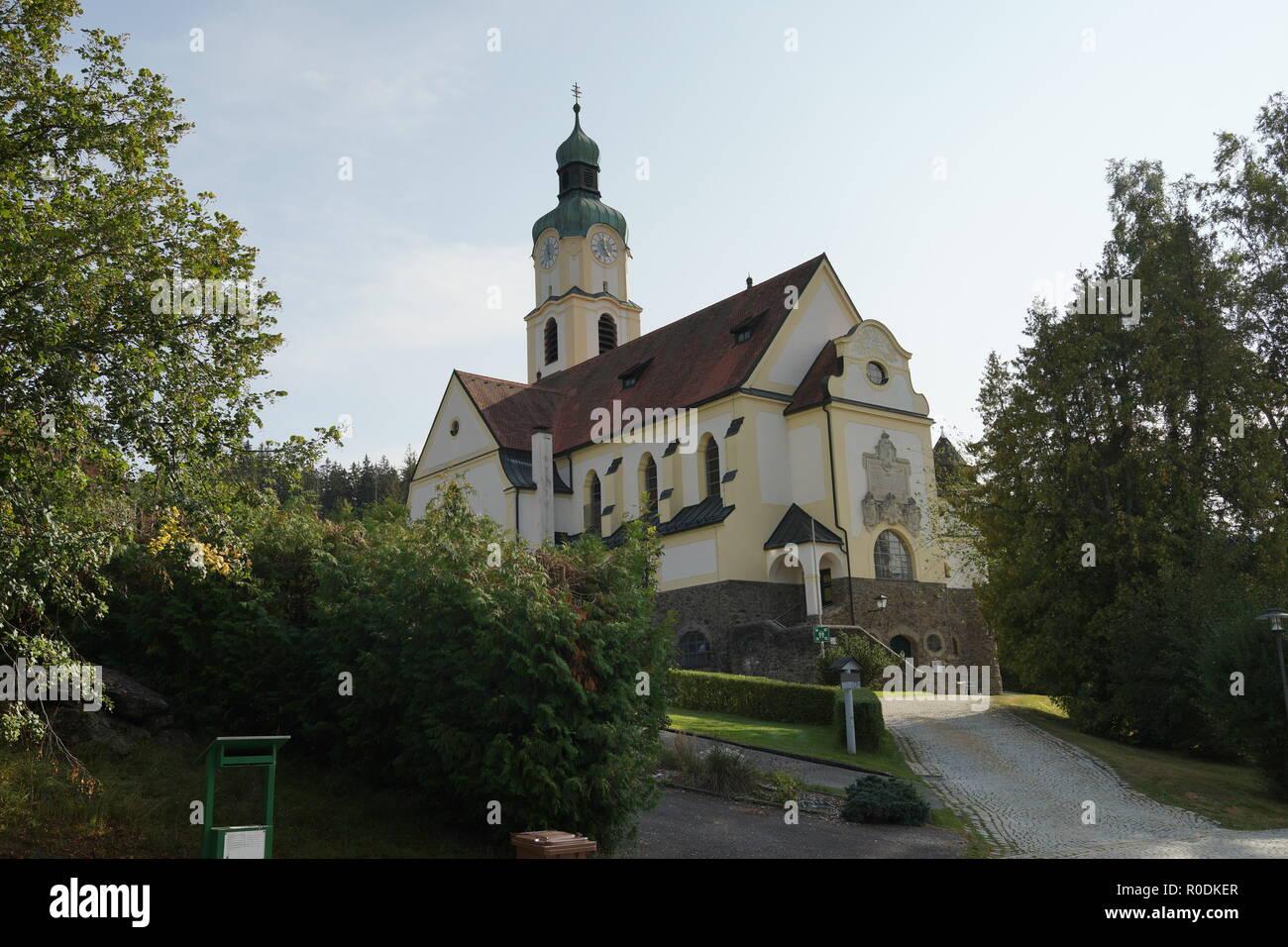 Parish Church of St. John Nepomuk in Bavarian Eisenstein Lower Bavaria - Stock Image