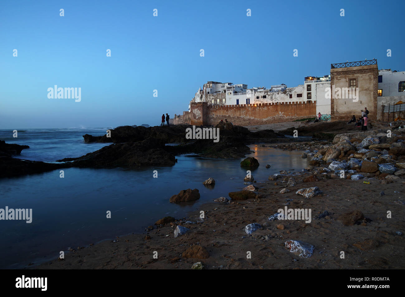 View on the medina of Essaouira at the blue hour, Morocco. - Stock Image