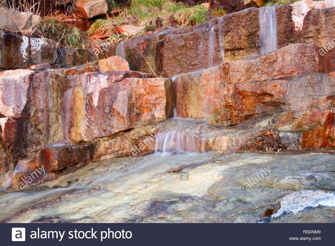 Exposed rocks of Devonian Limestone; Rinsey Cove; Cornwall; United Kingdom - Stock Image