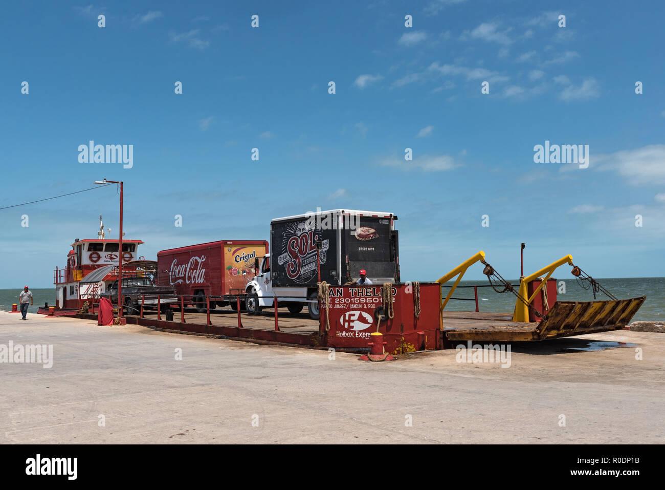 the harbor of chiquila, quintana roo, mexico Stock Photo
