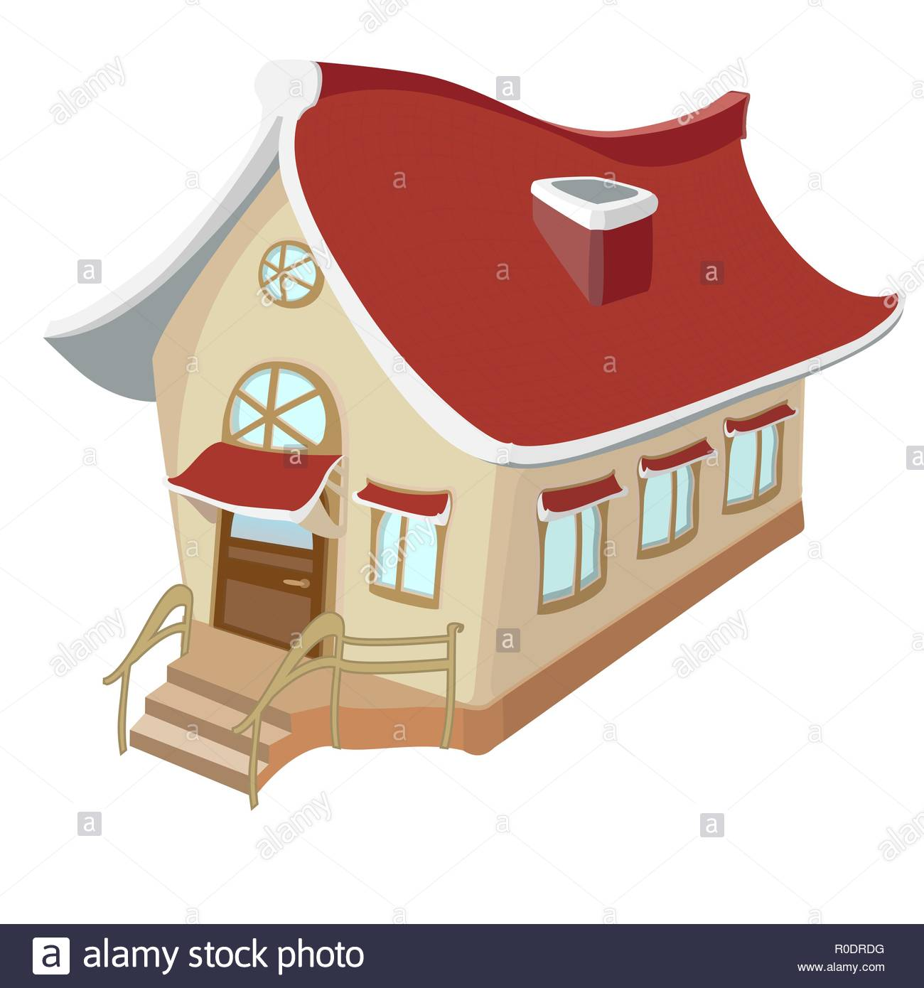 A beautiful little house. Drawing in warm yellow tones on a white background - Stock Vector