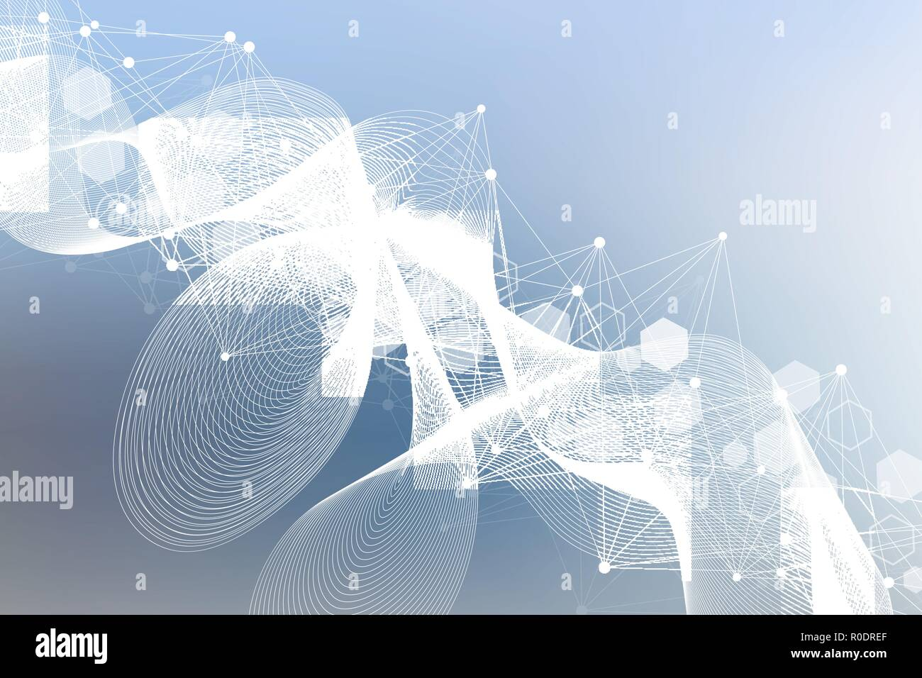 Modern futuristic background of the scientific hexagonal pattern. Virtual abstract background with particle, molecule structure for medical, technology, chemistry, science. Social network vector. Stock Vector