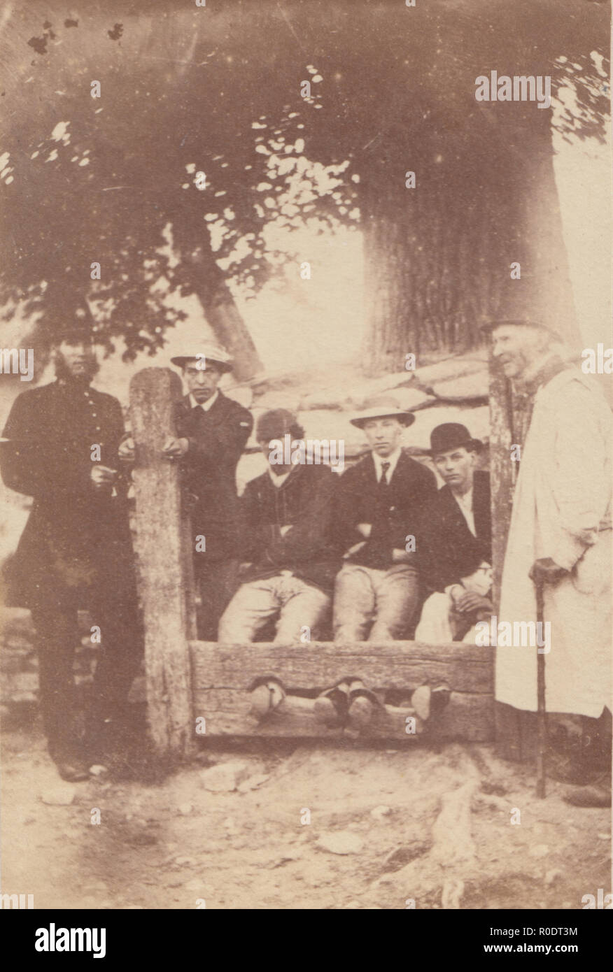 Oxford CDV Carte De Visite Of A Victorian Policeman With Men Being Held In The Village Stocks