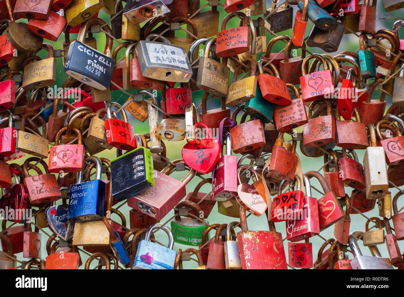 Locks on bridges - Stock Image