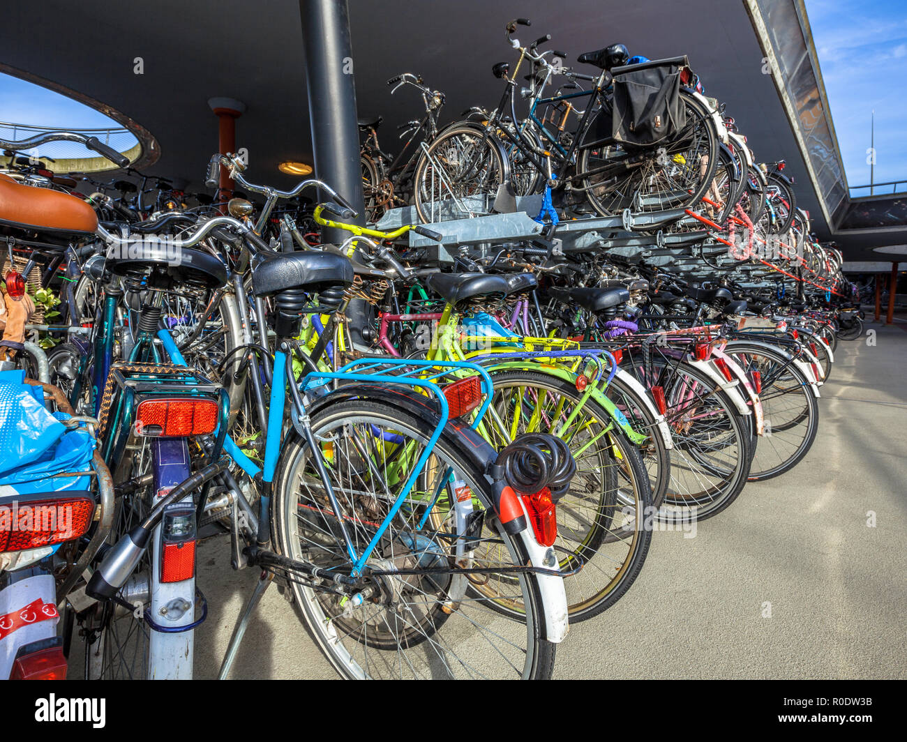 Bicycle parking on Groningen station. The city of Groningen has been elected ' most cycling friendly city of the Netherlands' for 3 years in a row. - Stock Image