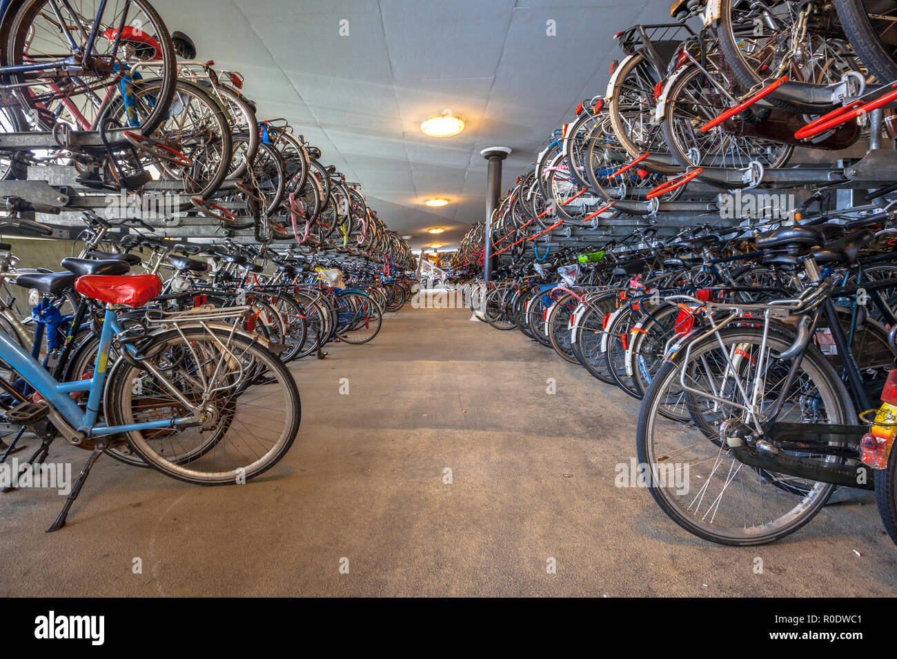 Public Bicycle parking Groningen central station. The city of Groningen has been voted ' most cycle friendly city of the Netherlands' for 3 years in a - Stock Image