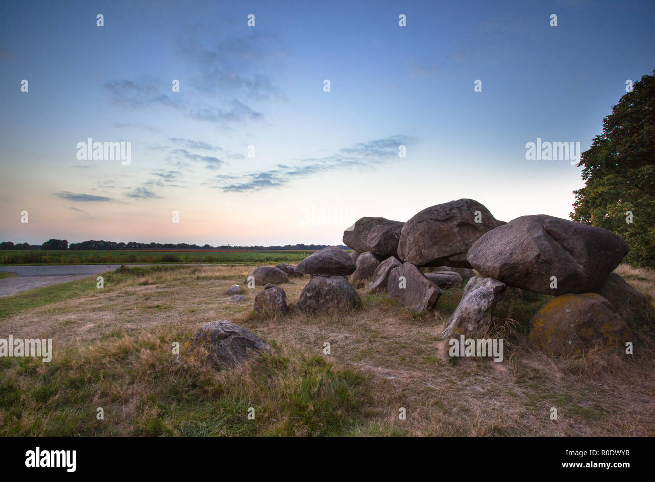 Ancient Dolmen Tombstone near Assen, The Netherlands - Stock Image
