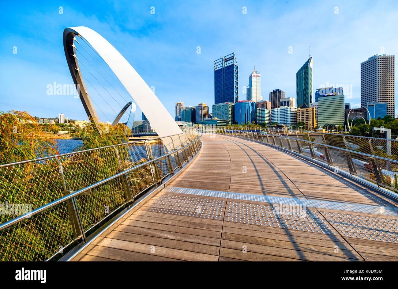 Elizabeth Quay Bridge overlooking Elizabeth Quay and the Perth city skyline. Perth, Western Australia - Stock Image