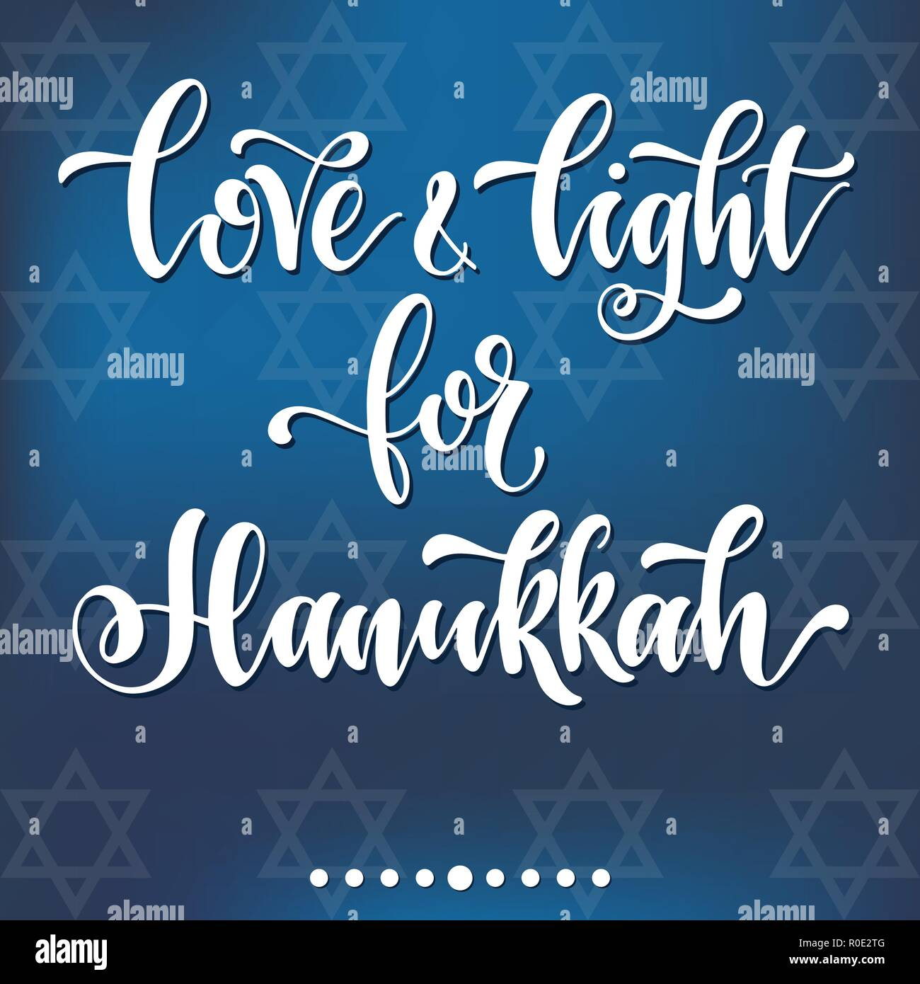 Love and light for Hahukkah. Happy hanukkah hand drawn lettering, dreidels and jewish stars. Elements for invitations, posters, greeting cards. T-shirt design. Seasons Greetings. - Stock Vector