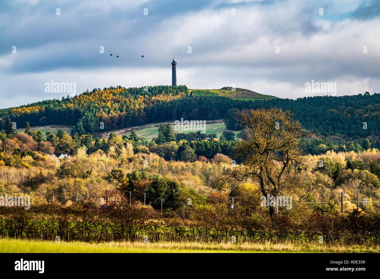 Ancrum, Jedburgh, Scottish Borders, UK. 24th October 2018. The Waterloo Monument, a Borders landmark on the hill Peniel Heugh near Ancrum, stands prou - Stock Image