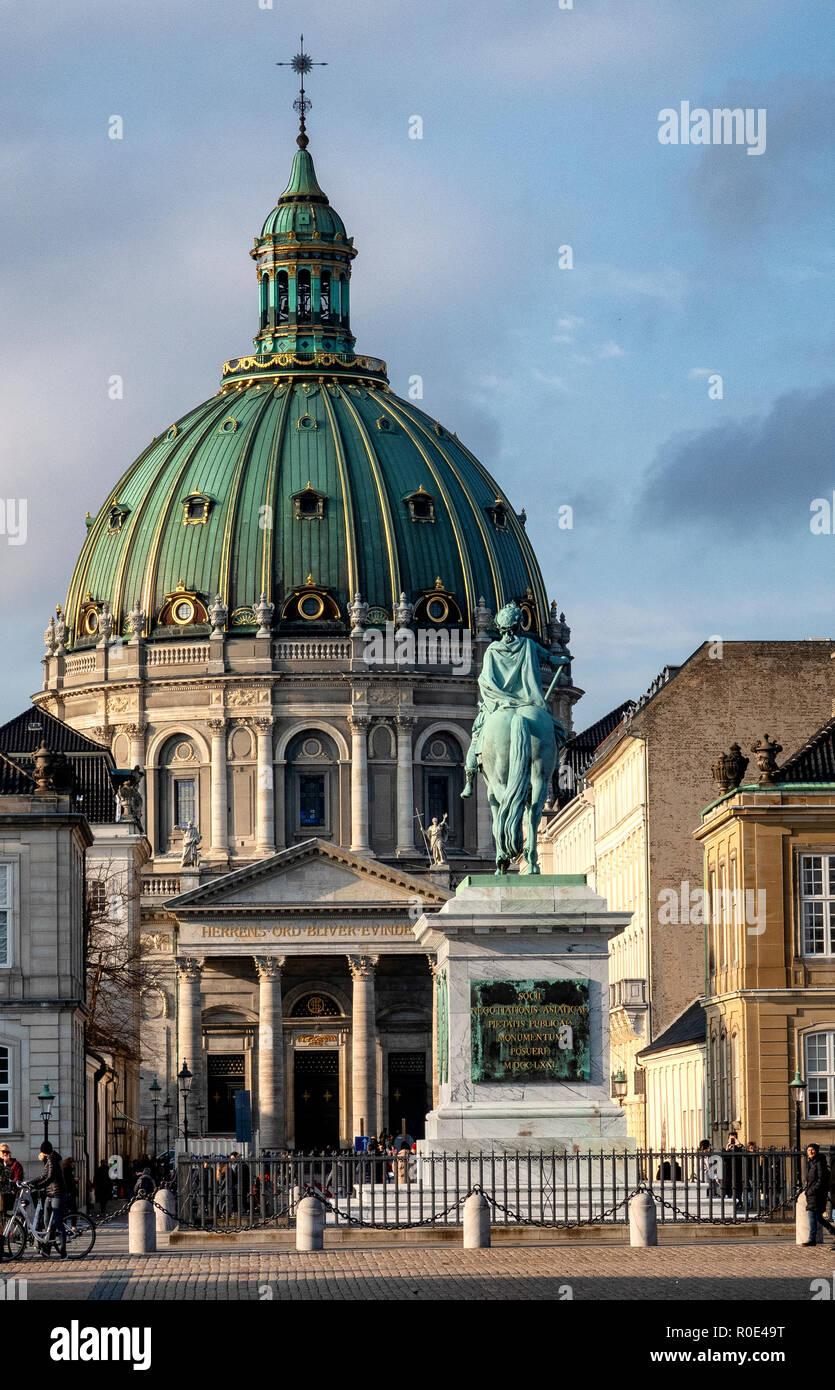 Frederik's Church (Frederiks Kirke), known as the Marble Church, Copenhagen, Denmark.  Marmorkirke church - Stock Image