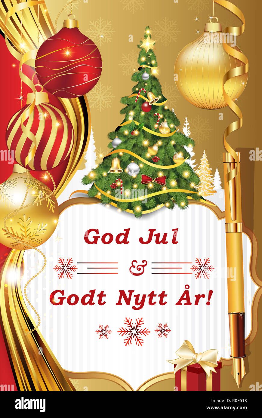 Merry Christmas In Norwegian.Greeting Card With Message Merry Christmas And Happy New