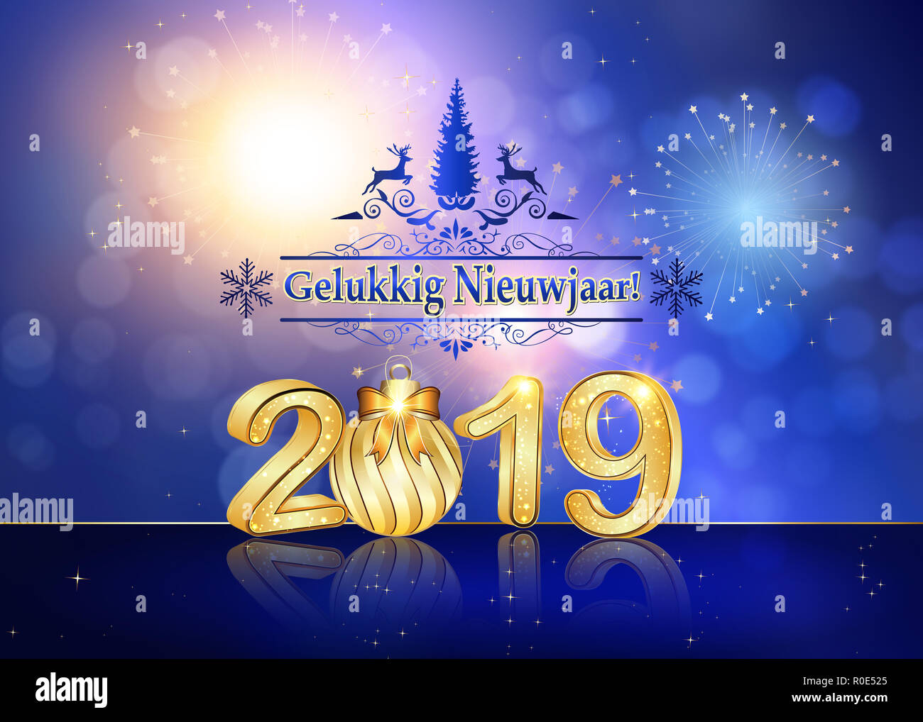 blue greeting card for the new year 2019 celebration the message is written in dutch text translation happy new year