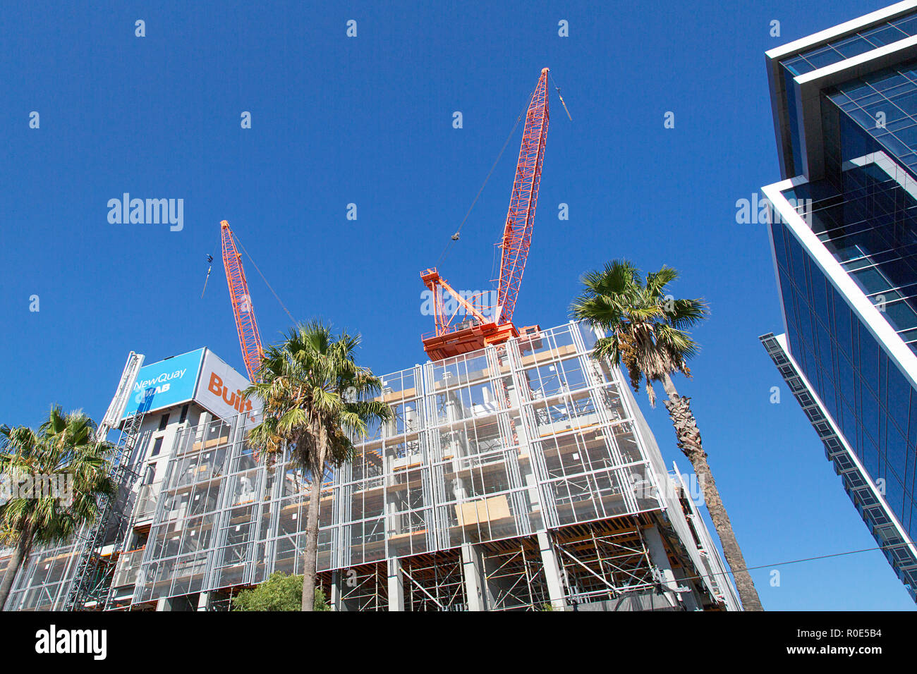 Melbourne, Australia: April 07, 2018: Construction of new apartment and office buildings in the Docklands Harbor area of Melbourne. - Stock Image