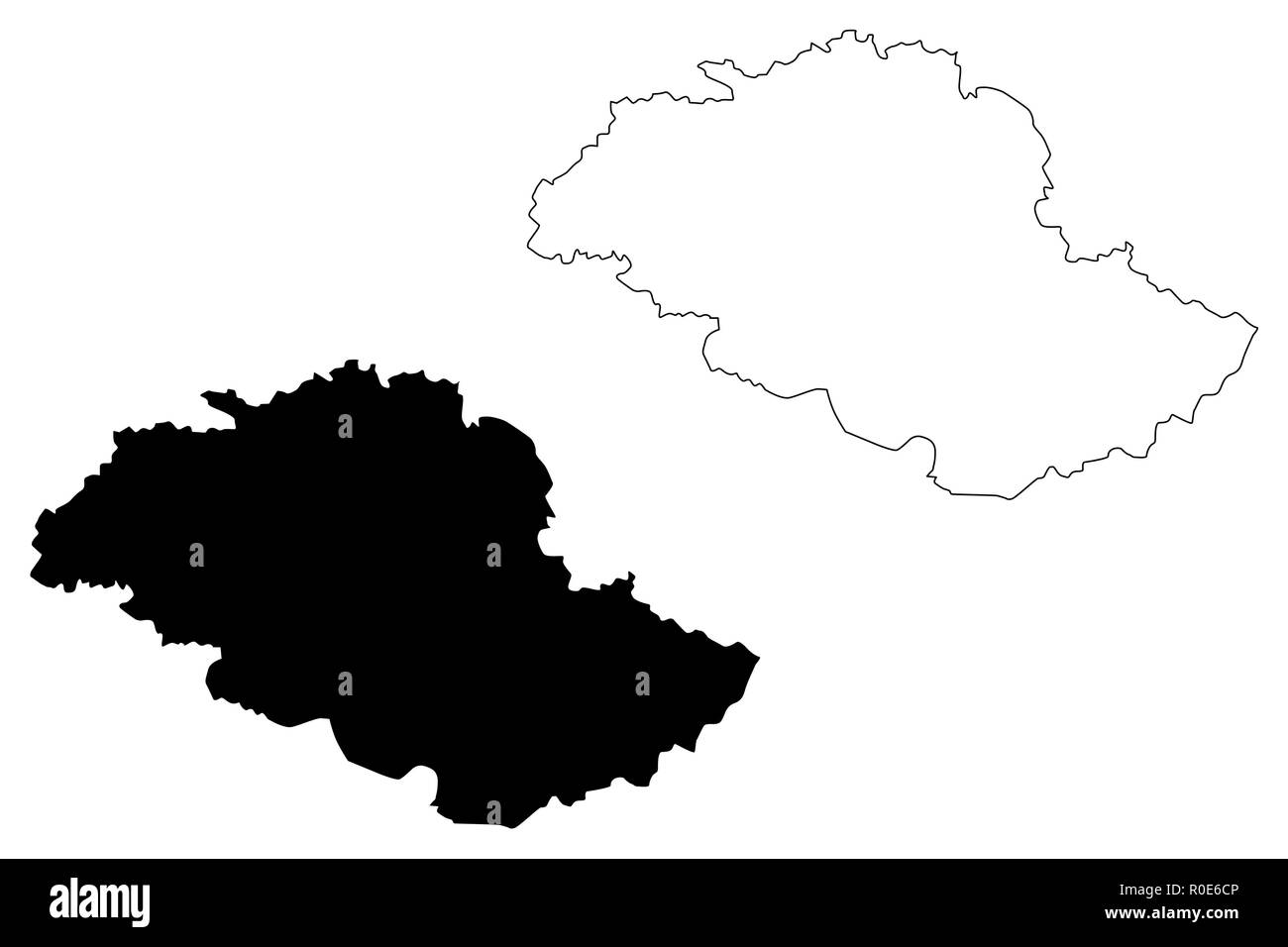 Gilgit-Baltistan (Province of Pakistan, Islamic Republic of Pakistan, Administrative units and Districts of Pakistan) map vector illustration, scribbl - Stock Image