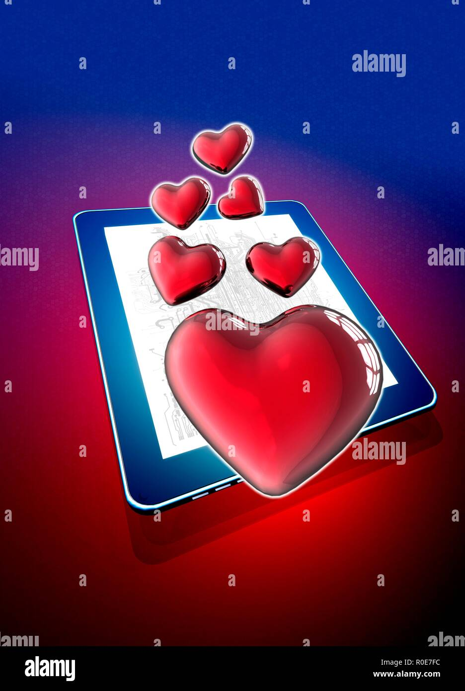 Digital tablet with heart shapes, illustration. - Stock Image