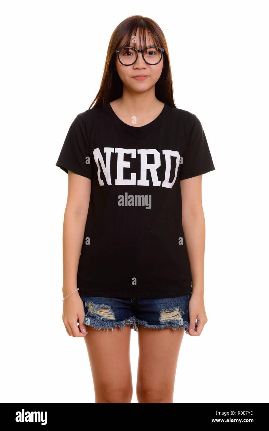 Portrait of young cute Asian nerd teenage girl - Stock Image