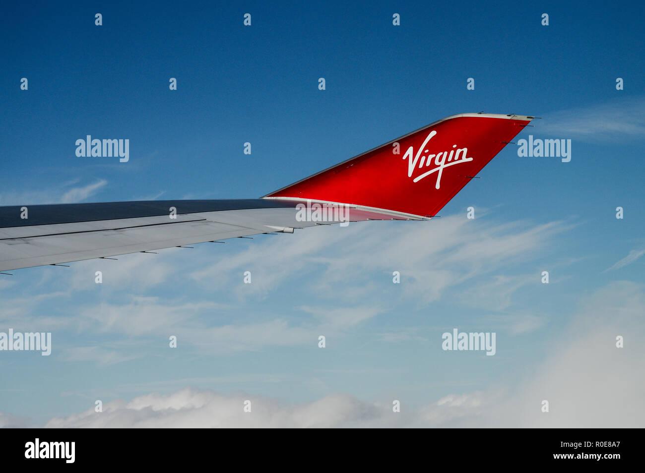 Distinctive winglet of a Virgin Atlantic Boeing 747 aircraft inflight - Stock Image