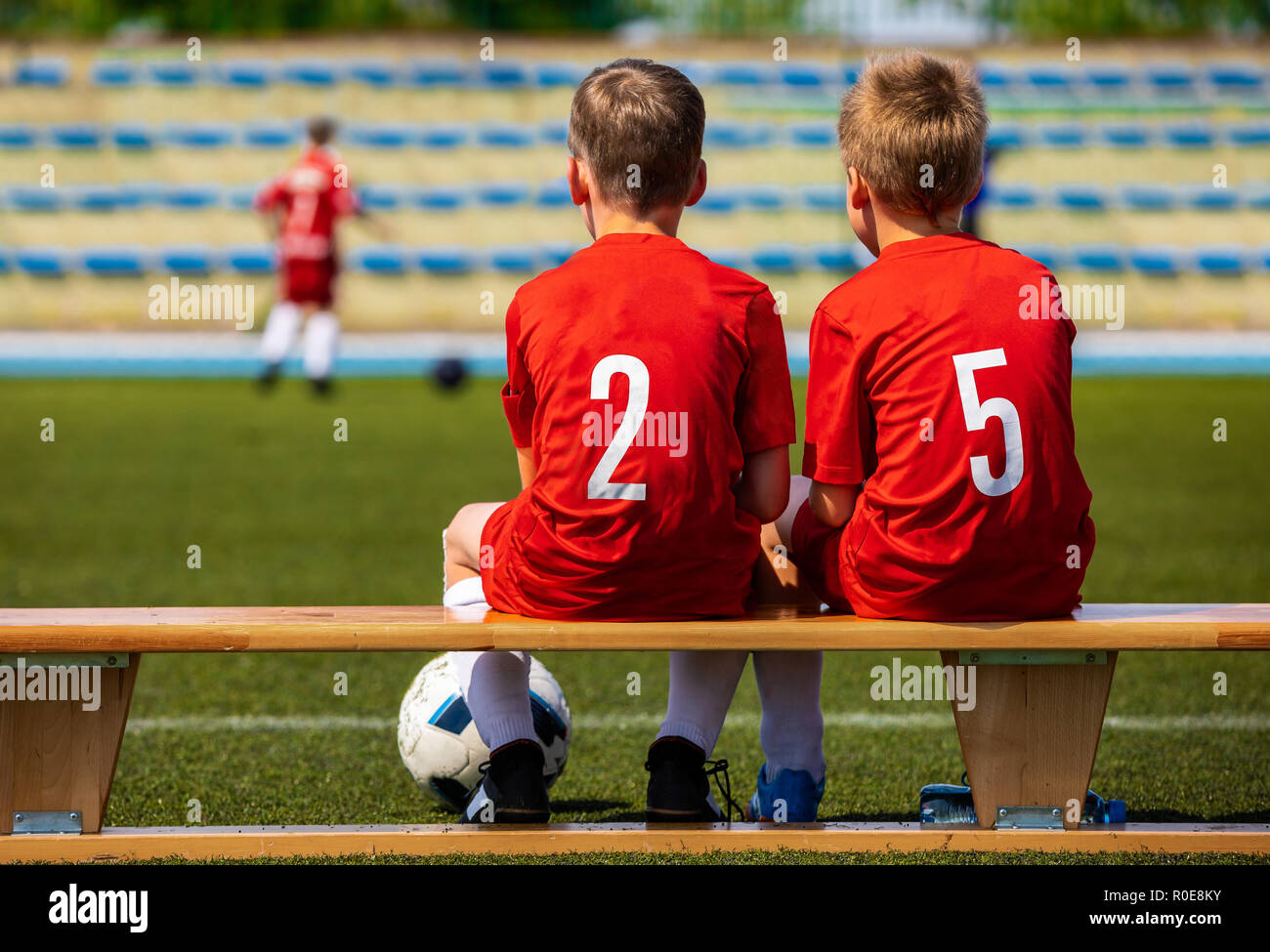 Kids Football Team Two Young Boys Watching Soccer Match Football