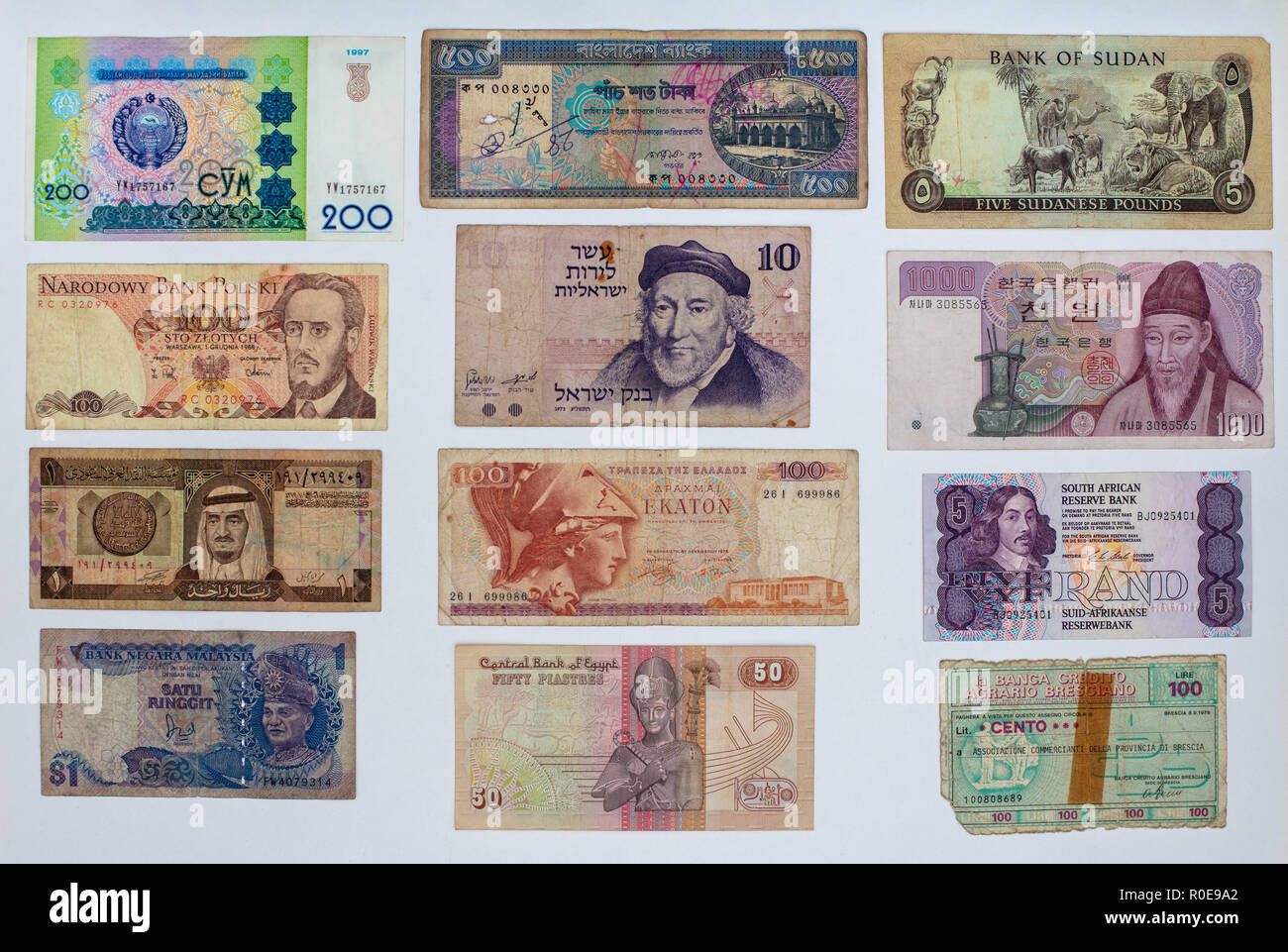 Money background, Closeup on old banknotes collection from