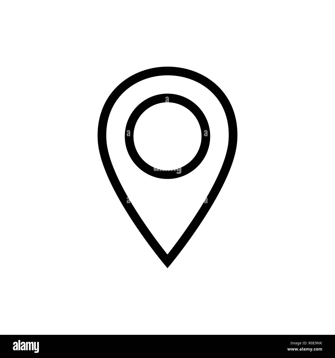 Location icon vector. Pin sign Isolated on white - Stock Vector