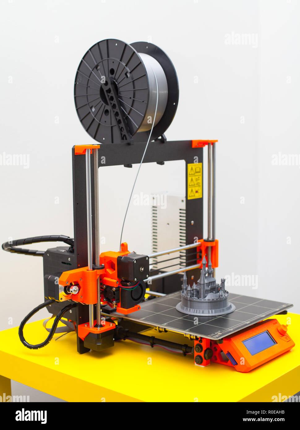 Close up printing detail three dimensional printer - Stock Image
