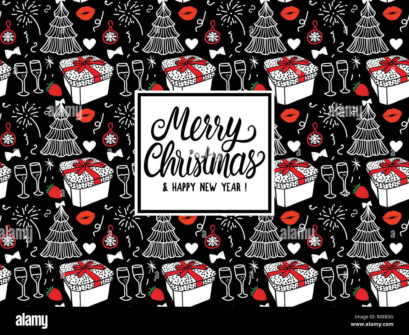 merry christmas and happy new year card fashion sketch celebration gift box tree and fireworks hand drawn vector illustration white and red on black