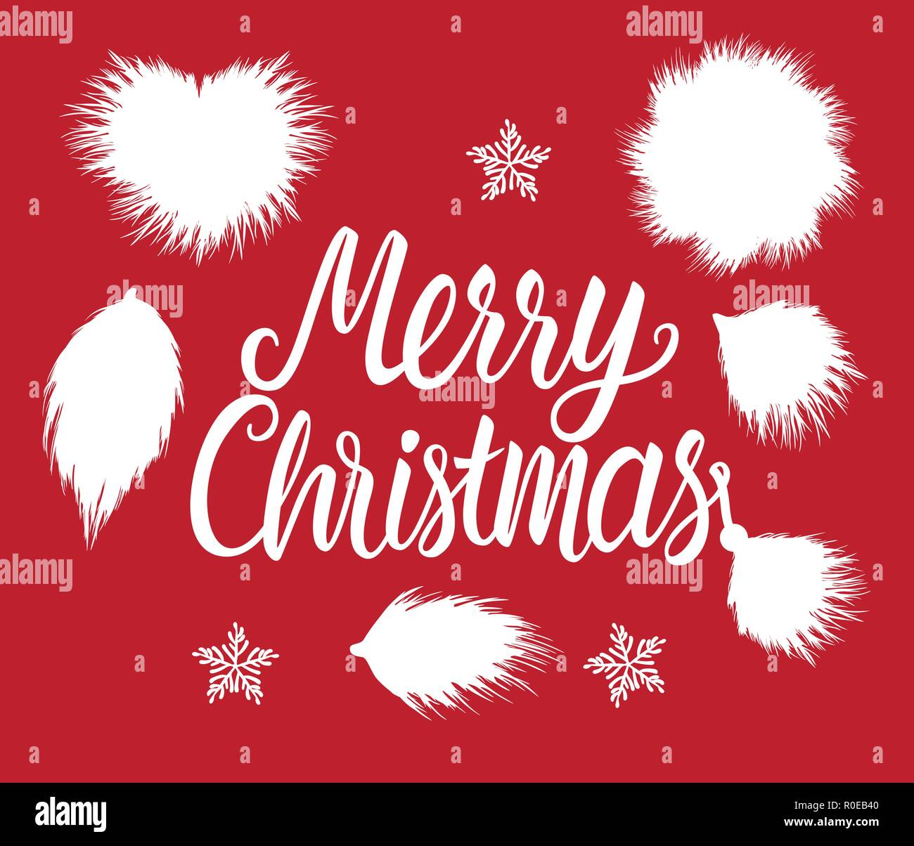 Merry Christmas lettering inscription. Fur forms winter white hand drawn fluffy isolated on red background. - Stock Vector