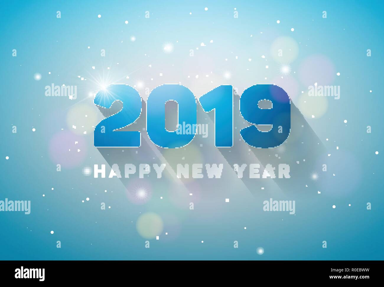 happy new year 2019 illustration with 3d number on shiny lighting blue background vector holiday design for flyer greeting card banner