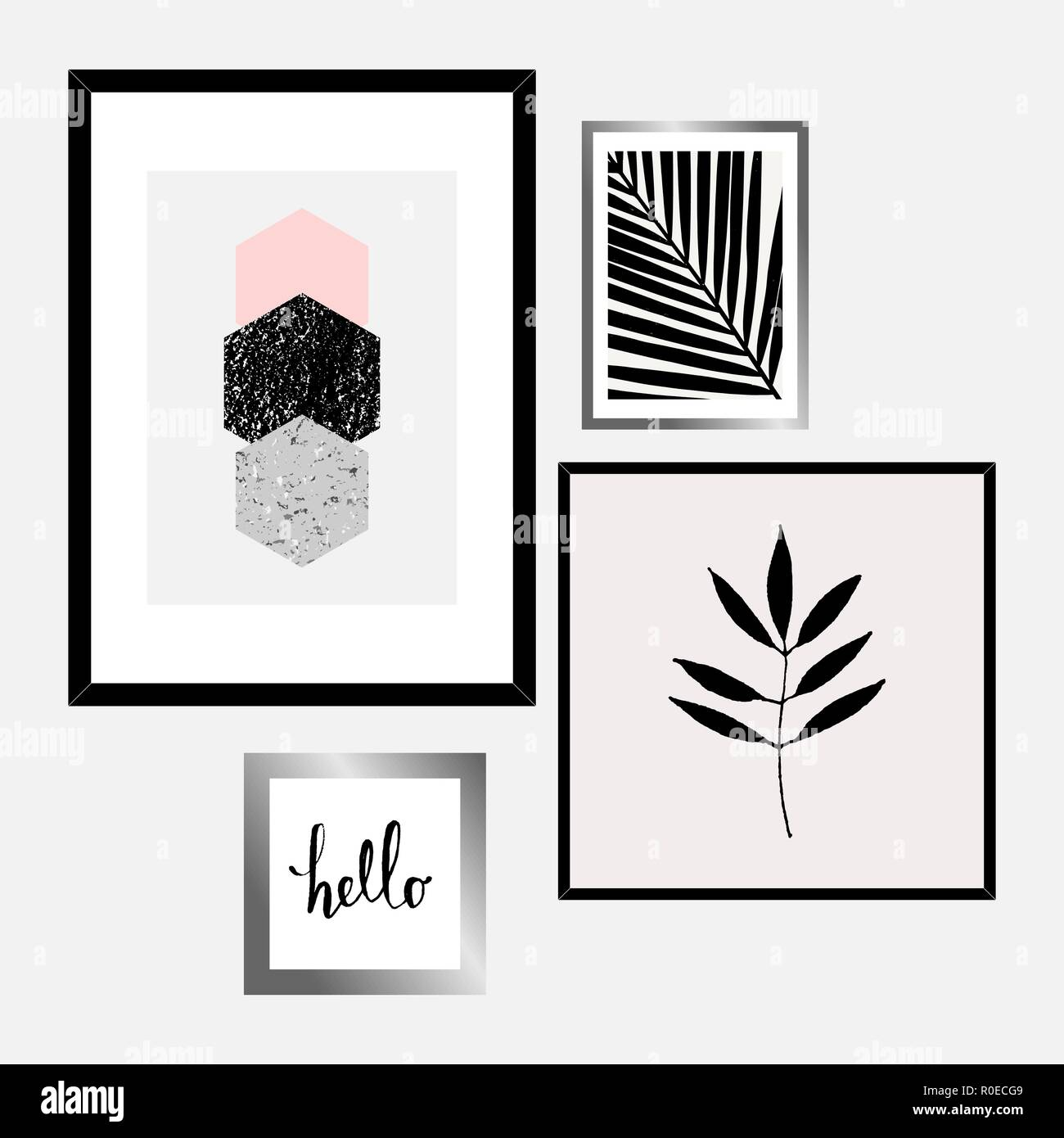 A Set Of Four Framed Art Prints In Black Gray Pastel Pink And