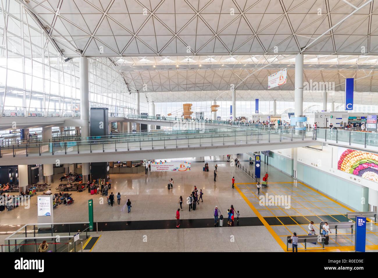 Inside Hong Kong International Airport - Stock Image