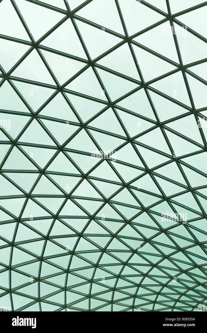 Glass roof on the atrium of the British Museum in London, England - Stock Image