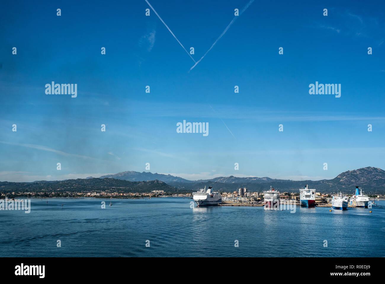 OLBIA, ITALY Ferry Sky Island Harbour - Stock Image
