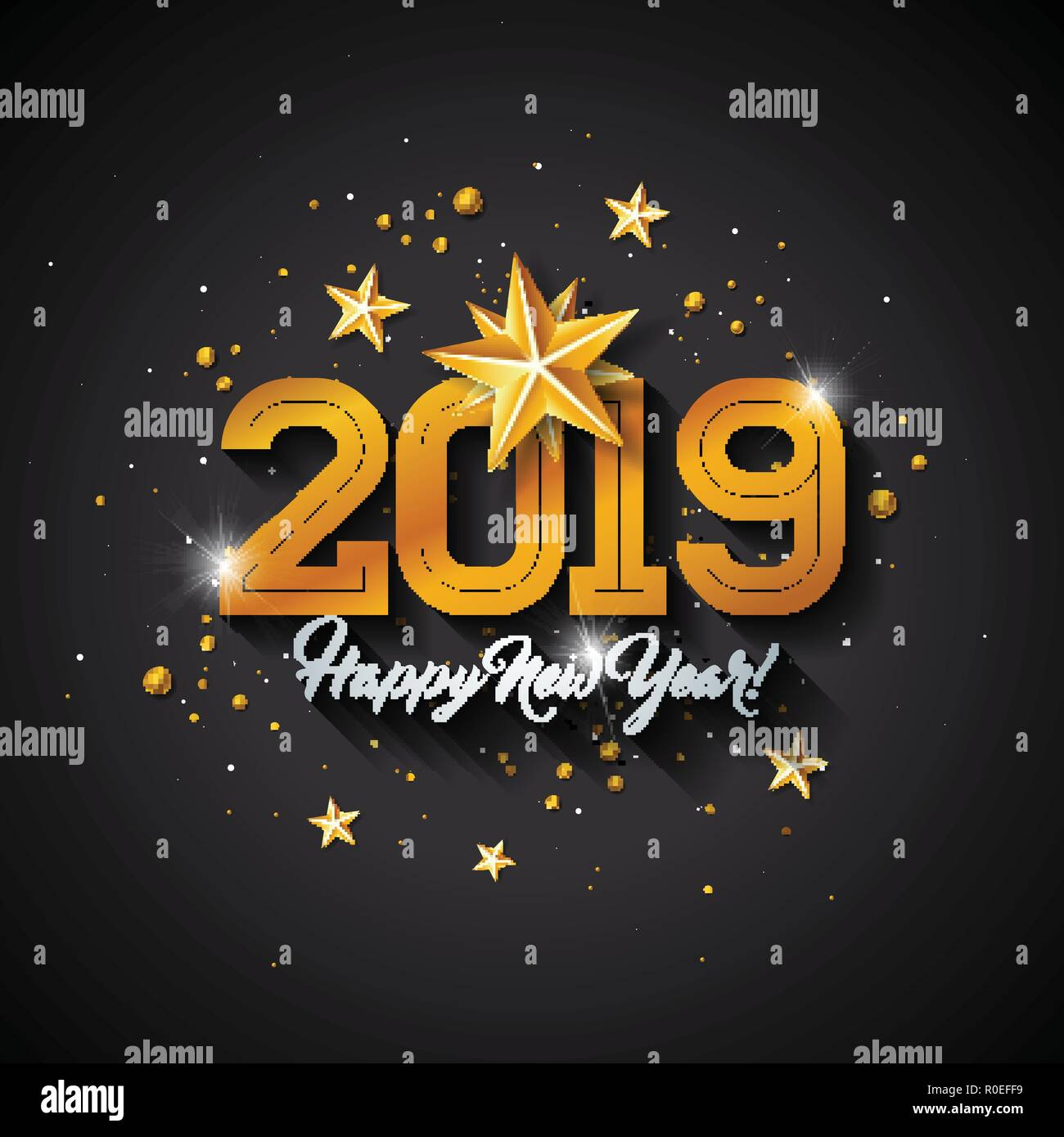 happy new year 2019 illustration with typography letter gold cutout paper star and ornamental ball on black background vector holiday design for premium