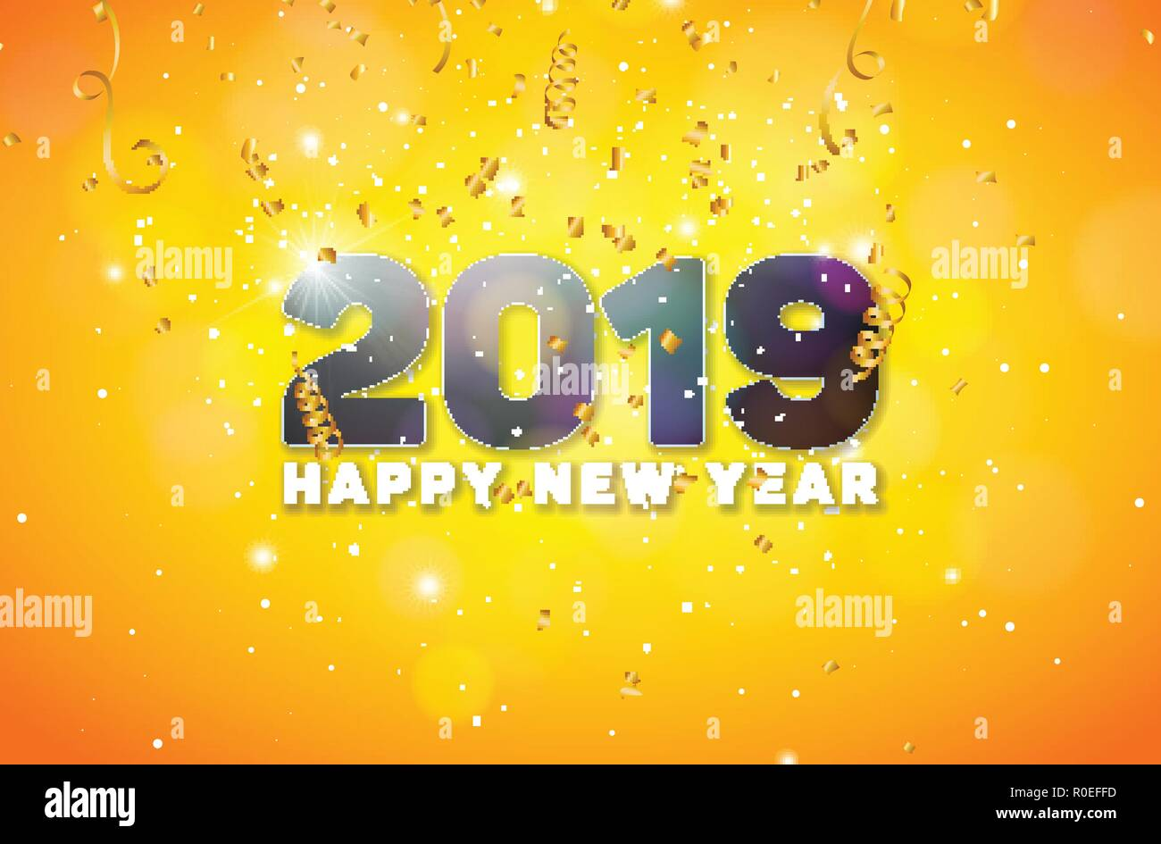 Happy New Year 2019 Illustration With 3d Number On Shiny Yellow