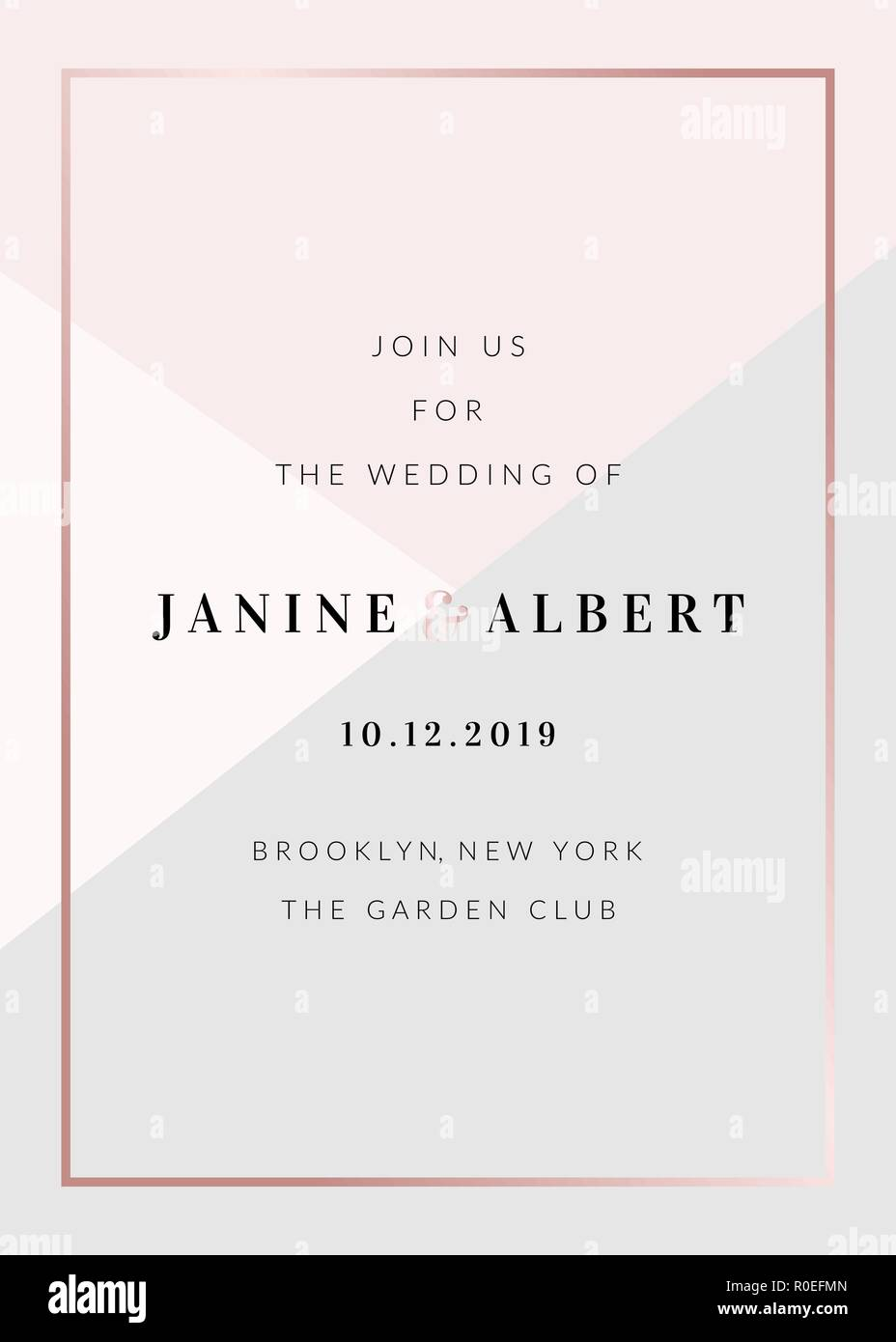Wedding Invitation Template With Geometric Elements In Pastel Pink