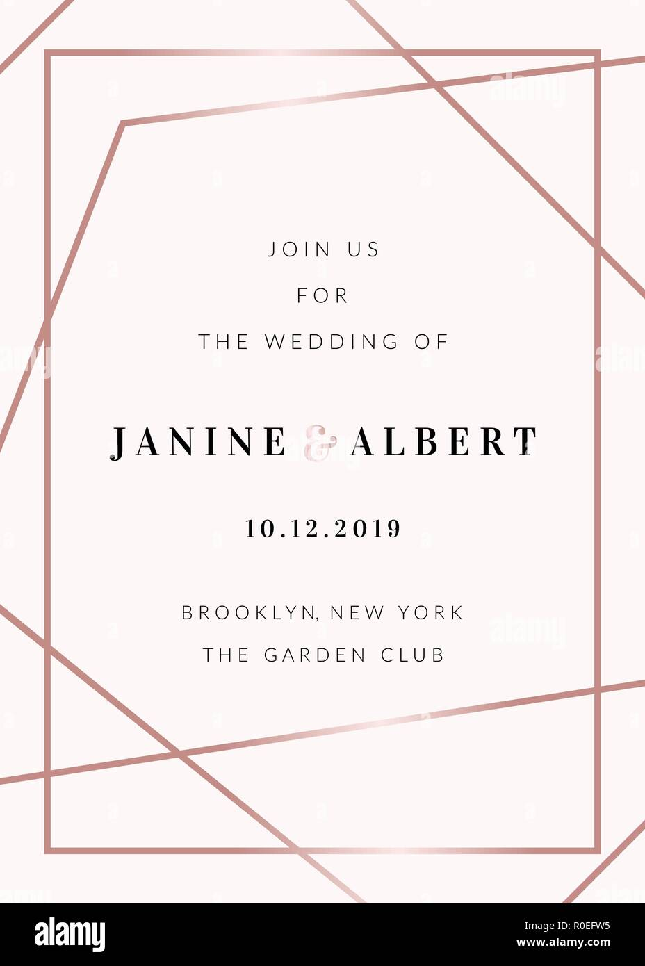 Wedding Invitation Template With Rose Gold Decorative Elements And