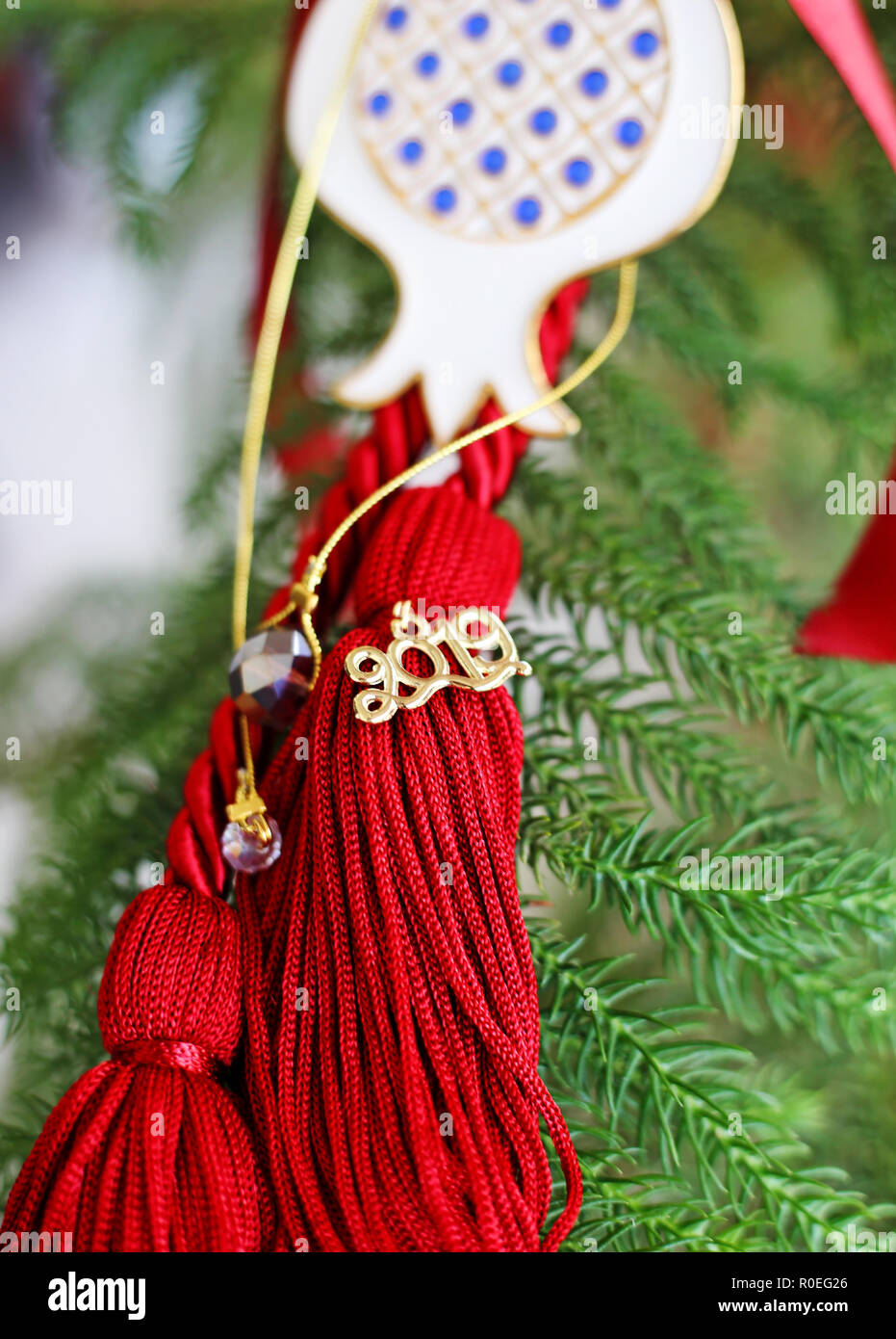 Christmas Home Decor 2019.Decorative 2019 Ornament With Red Ribbons And Lucky