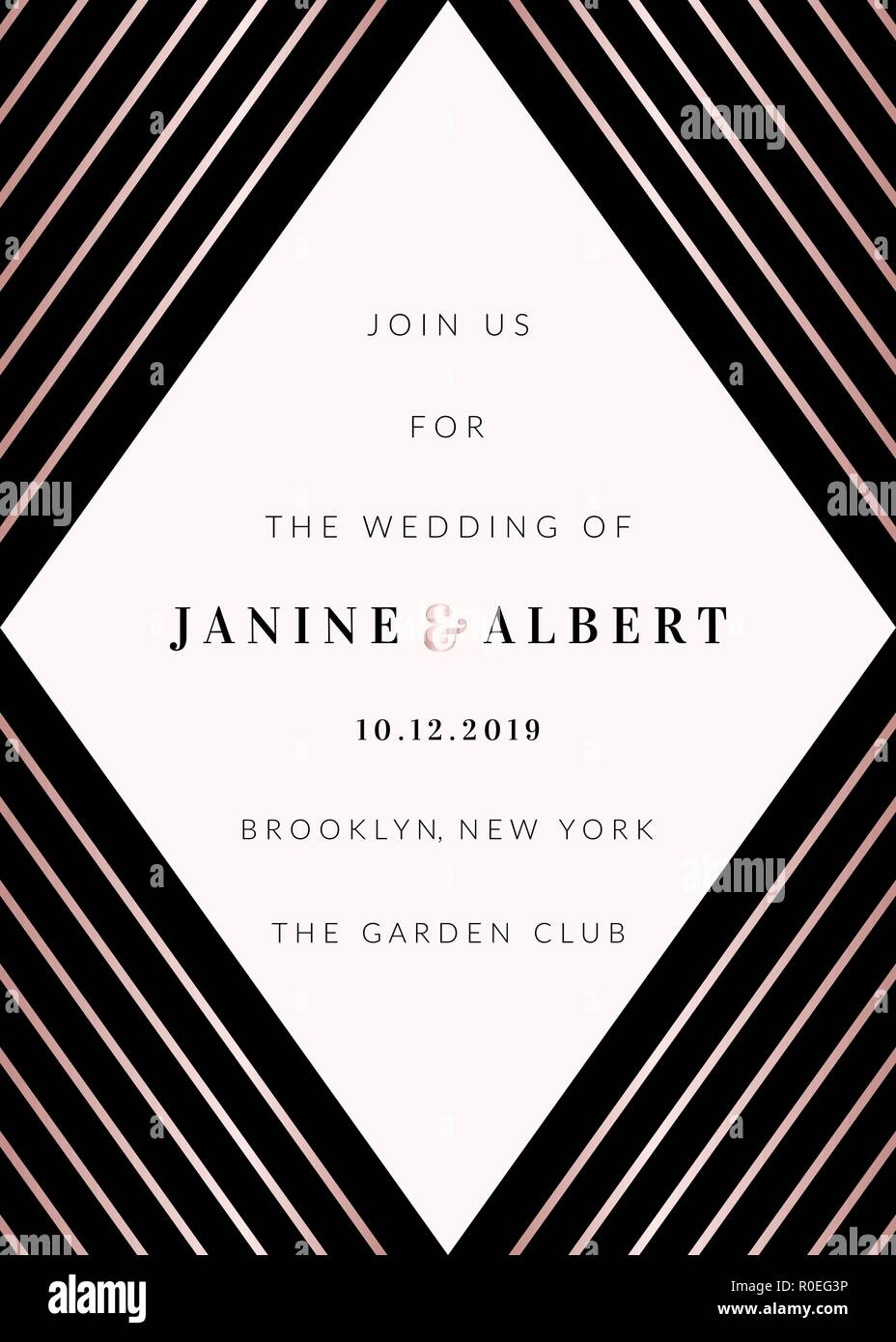 Wedding invitation template with geometric elements in black and white, rose  gold details, sample text layout Stock Vector Image & Art - Alamy