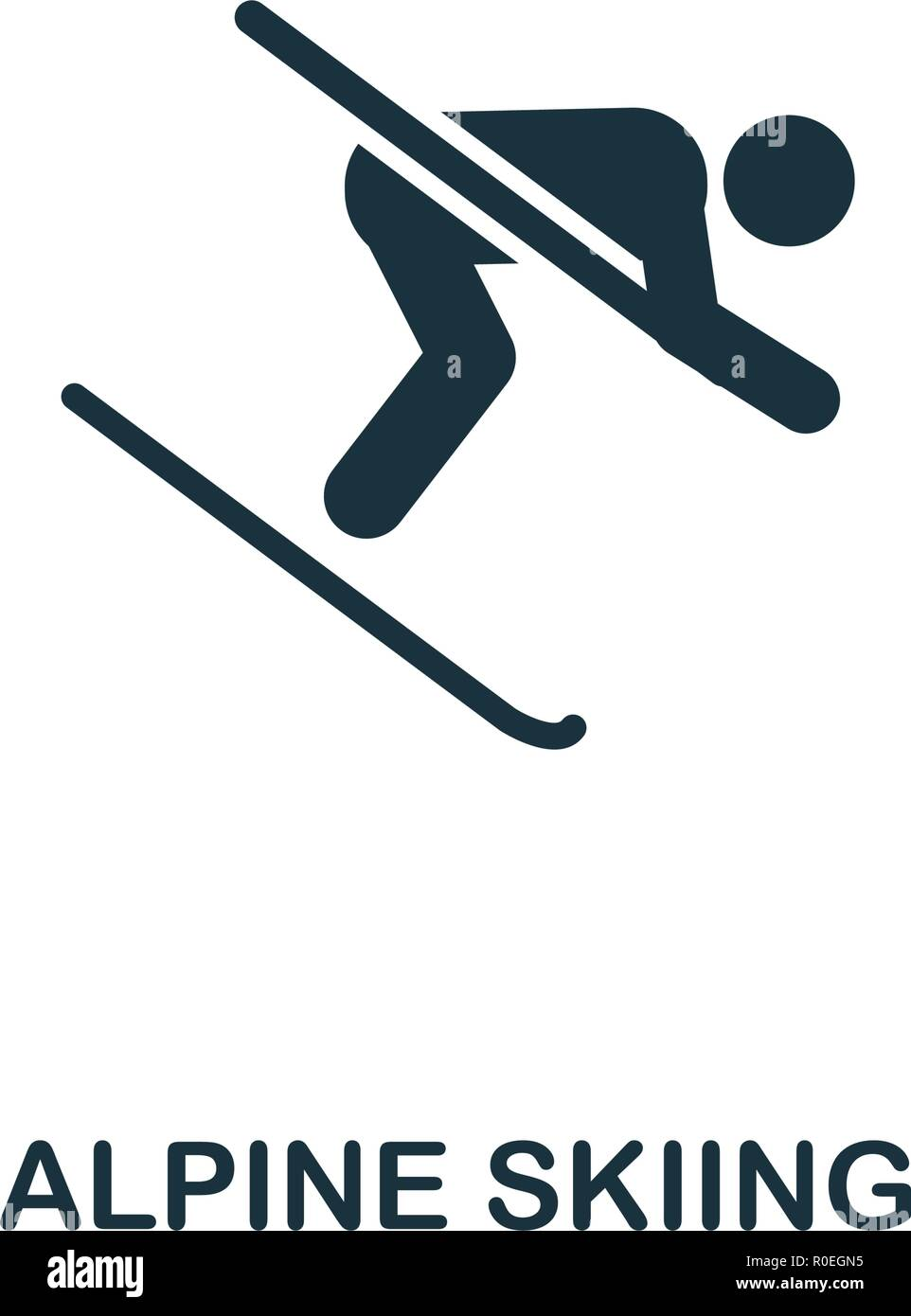 Alpine Skiing icon. Premium style design from winter sports collection. UX and UI. Pixel perfect alpine skiing icon for web design, apps, software, pr - Stock Vector